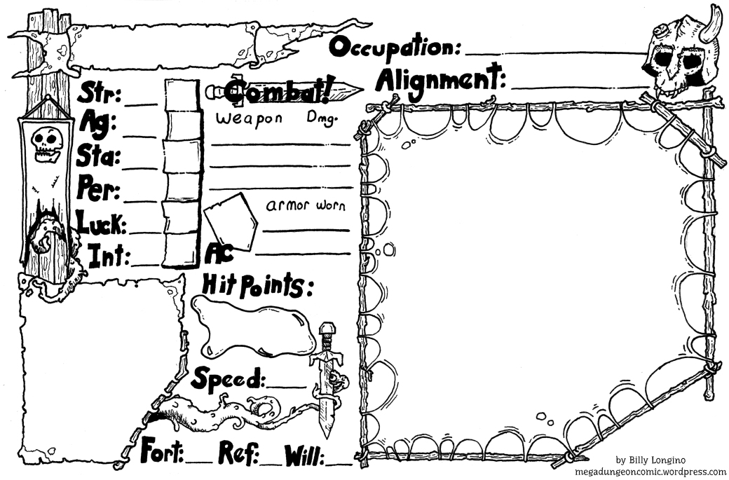DCC Zero Level Character sheet